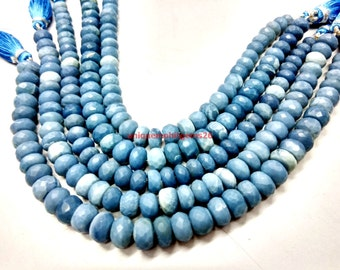 """25% OFF NATURAL blue opal 6-8mm rondelle faceted loose gemstone beads 13"""" inch with free shipping"""