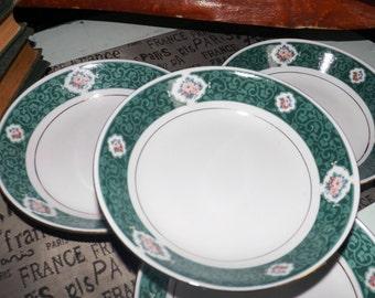 Vintage Tienshan Fine China Chanticleer pattern soup, salad or cereal bowl. Dark green border, inset swirls, multicolor florals, gold rim.