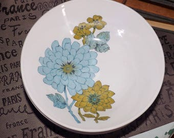 SET of 4 vintage (c.1960s) Johnson Brothers JB445 Groovy! (like me!) blue and green Chrysanthemum flower-power cereal | salad | soup bowls.