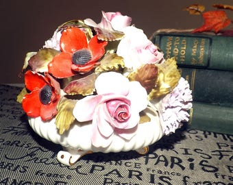 Vintage (c. 1960s) Royal Adderley large, bone china, hand-painted floral bouquet | porcelain flowers in urn. Gold accents.
