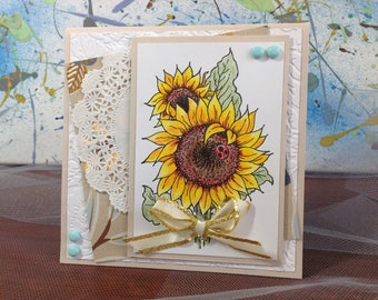 Handmade cards for all ocassions, Blank cards, Sunflower card, Doily cards