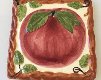 Vintage Franciscan Apple Pattern Trivet Hot Plate Made In Portugal Circa 1976-1984