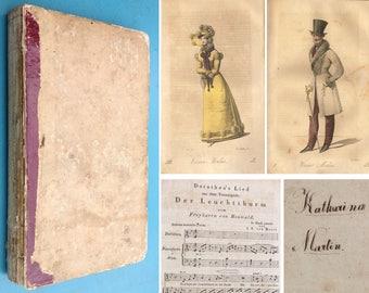 Antique book 1822 Regency 13x fashion prints Wiener Mode gown bonnet pelisse German 'as found' condition owner ID
