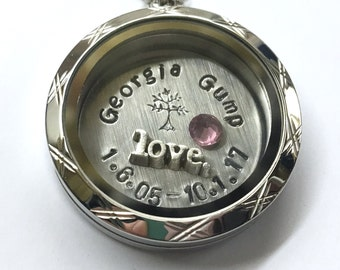 Commemorative Pet Locket - Personalized Necklace for a Loved One - In Memory Of A Special Date - Custom Hand Stamped Gift