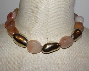 Rutilated Quartz and 14 kt Gold Vermeil over Sterling Silver Nugget Necklace