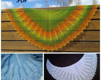 """Pattern for Knitting Shawl """"Bekhar """" Instant download PDF file Hand Knitted Lace Shawl"""
