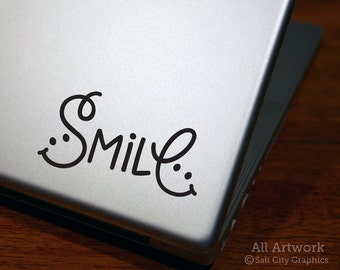 Smile - Laptop Decal - Happiness Sticker - Macbook Decal - Smiley Face - Die Cut - Laptop Sticker, Car Decal, Bumper Sticker, Tablet Sticker