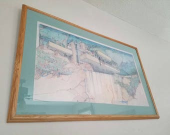 Vintage picture frank Lloyd Wright falling water lithography
