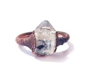 brass herkimer diamond ring