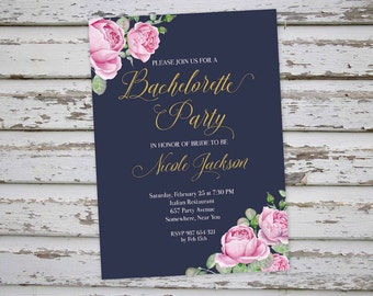 Bachelorette Invitation, Floral Bachelorette Party Invitation, Navy Bachelorette Invite, Hen Party Invitation, Hens Do Invitation DIY