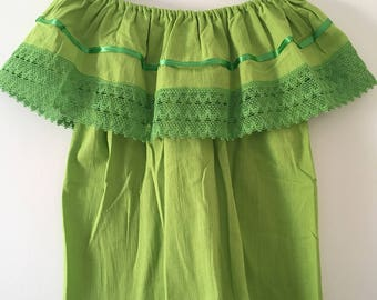 Campesina mexican lemon green blouse
