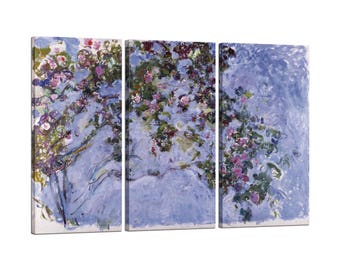 On canvas Claude Monet framed Les roses