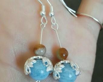 jade earring jadeite aquamarine ear hook earring 925 Sterling silver handmade