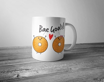 Bae Goals Funny Bagels Friendship Mug 11 OZ Ceramic Coffee or Tea Mug by Silihome