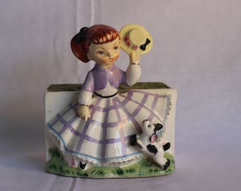 Vintage Little Bo Peep Flower Planter