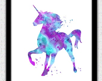 Unicorn printable art, unicorn Digital Download, unicorn print, unicorn instant download, nursery art, pink unicorn print, pink purple aqua