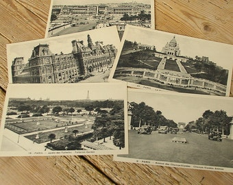 Vintage French Paris postcards 30s.Triumph Arch Place Concorde Sacre Coeur Hotel de Ville.Carte postale.Sepia unused postcard.collage