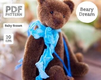 Artist Mohair Teddy Bear pattern, teddy bear pattern, teddy pattern, stuffed toy pattern, soft toy pattern, 20 cm