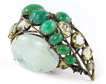 Signed 'Iradj Moini' Aquamarine and Emerald Ring