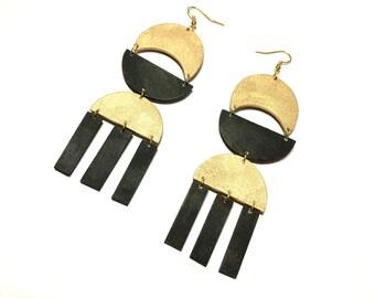 Chandelier Oversized Earrings, Gold and Black Dangle Geometric Earrings