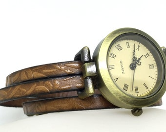 Women's watch, fine brown engraved leather bracelet, original jewelery, retro dial, wooden bead, original gift