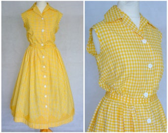 Vintage 1950s Yellow Gingham Cotton Shirt Dress with Cross Stitch Details Size UK 8 10 S
