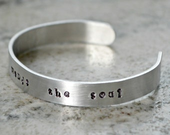Metal Stamp Cuff Bracelet: Sewing Mends the Soul - perfect gift for quilter and sewist