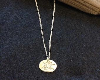 Fine silver lotus necklace