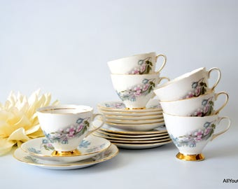 Drury Lane by Gladstone, Vintage Bone China, Stunning Gladstones Bone China Tea Set, Floral Tea Set, Vintage Wedding Tea Set, c 1950 s