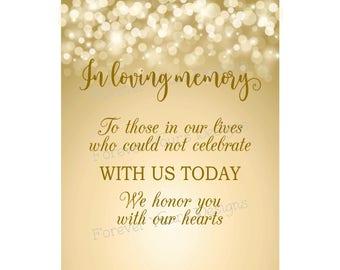 S1, Instant Download, Printable Wedding Sign, Heaven Wedding Sign, In Loving Memory Sign, 8x10, Digital Download, Memorial, Bokeh, Gold