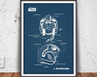 LUKE SKYWALKER poster, skywalker helmet print, star wars printable, star wars pilot blueprint, rebel helmet illustration, luke's helmet,3041