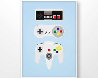 Nintendo poster, game controller print, nintendo printable, gaming wall decor, game room wall art, retro gaming, 8 bit, gamer gifts, 2051