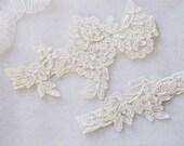 OFF WHITE wedding garter set, customizable, bridal garter, lace garter, keepsake and toss garter, wedding garter, flower garter, Monogram
