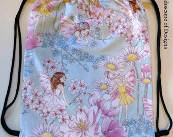 Flower Fairy Drawstring Backpack / Swim / Sports / Pyjama / Books / Activity Bag/ Toy Storage