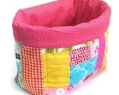 Fabric Basket, Nursery Organizer , Fabric Storage Bin, Home Organiser, Diaper Nappy Caddy, Handmade Nursery Decor, Baby Girl Nursery Decor