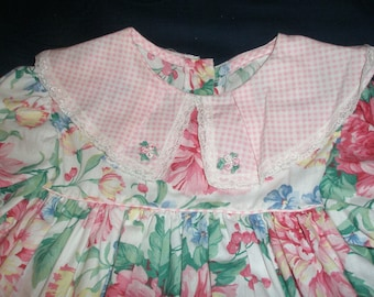 Floral and Pink and White Checked Girl Dress Size 3-4