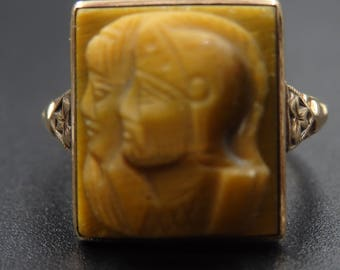 Antique carved Tiger's eye double cameo Roman soldier ring size 6