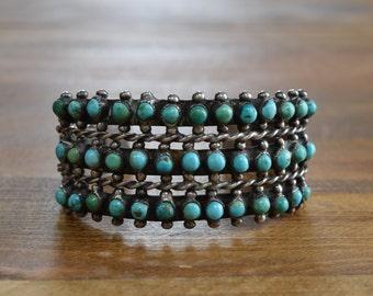 Vintage Zuni Snake Eye Petit Point Turquoise Sterling Silver Cuff Bracelet
