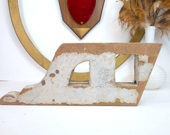 Architectural Salvage Wood Bracket Fragment for Display or Creative Wood Projects, Weathered Chippy White Paint, Victorian Salvage