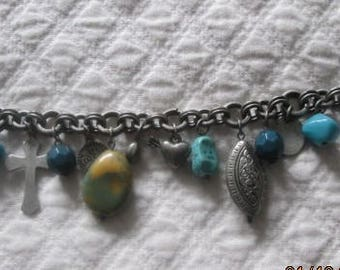 Pewter and Turquoise Charm Bracelet