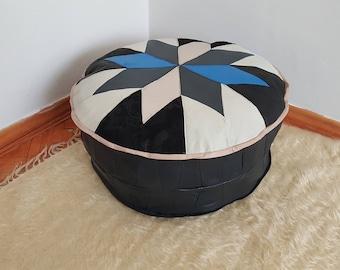 Leather pouf white and blue colour turkish poufs handmade ottomans