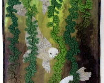Art Quilt, Original Fiber Art Wall hanging, Hand dyed Fabric, Kelp Forest, Ocean scene, seascape, Fabric Art