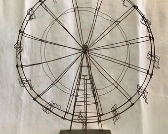 Folk Art Ferris Wheel // Birthday / Gift Idea / Art / Decor / Metal Art / Sculptured Metal