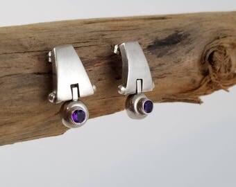 Modernist amethyst earrings sterling silver earrings vintage amethyst earrings sterling hinge earrings OT2514