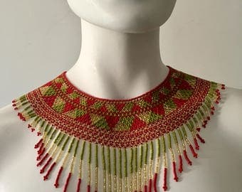 HUICHOL NECKLACE, MEXICAN Choker, Handbeaded Chakira Necklace, Boho Jewelry