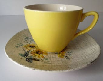 "Vintage Teacup and  Saucer set. 1960s  J &G Meakin ""Summertime "" Teacup and saucer set."