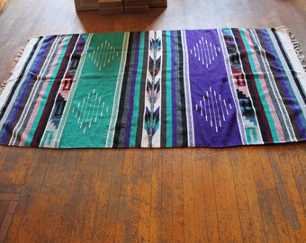 Vintage Woven Mexican Blanket with Vibrant Colors and Designs
