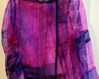 Jacket, Blouse, Hand Dyed Organza Silk, Pojagi traditional Korean wrapping cloth Method