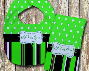 Presley Monogrammed Baby Bib with matching Burp Cloth Set (Green)