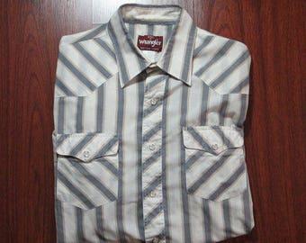 Wrangler Shirt Western Mens 80s long sleeve vintage- Blue / White Stripe Pearl Snap medium